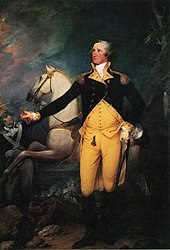 Washington stands in front of a white horse whose reins are held by a soldier.  Washington holds a spyglass in his right hand, and his left hand rests on his sword.  His uniform is a blue coat over gold waistcoast and pants.  In the dark background there are more men in uniform, one of whom is carrying an American flag.