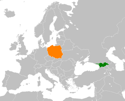 Map indicating locations of Georgia and Poland
