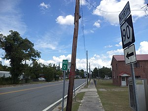 Georgia State Route 90 - The southern terminus of SR 90 in Willacoochee, Atkinson County