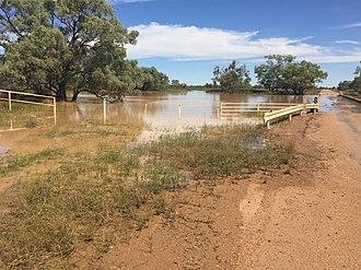 Bedourie, Queensland - Georgina River flooding covering the bridge, 2016