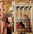 Giovanni Baronzio - Scenes from the Life of St Colomba (St Colomba Saved by a Bear) - WGA23900.jpg