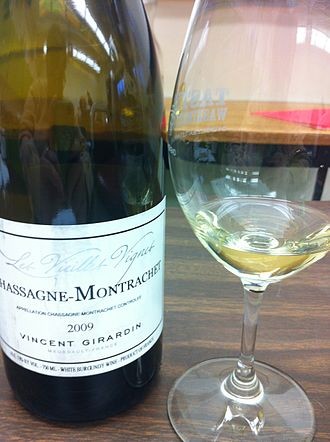 Chassagne-Montrachet wine - A glass of Chassagne-Montrachet.