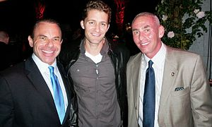 Matthew Morrison - Morrison (center) with LGBT activist couple Kevin and Don Norte at a PFLAG fundraiser in 2010