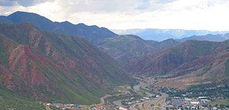 Glenwood Springs, Colorado - Looking west from Glenwood Caverns Adventure Park above Glenwood Springs
