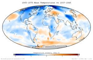 History of climate change science - Mean temperature anomalies during the period 1965 to 1975 with respect to the average temperatures from 1937 to 1946. This dataset was not available at the time.