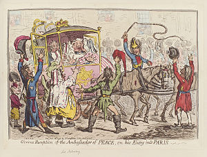 James Harris, 1st Earl of Malmesbury - Glorious reception of the Ambassador of Peace, on his entry into Paris by James Gillray (1796).