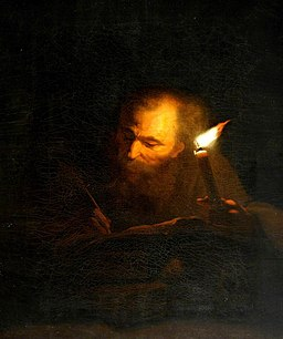 Godfried Schalcken (1643-1706) (after) - An Old Man Writing a Book by Candlelight - 290274 - National Trust