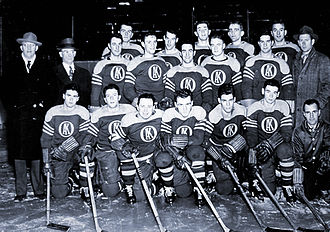 Omaha Knights (AHA) - The 1945-46 Omaha Knights with Gordie Howe (2nd from left, back row)