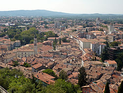The old part of Gorizia seen from the Castle