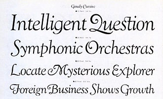 """Goudy Old Style - """"Goudy Cursive"""", ATF's expansion of the design with additional swash characters."""