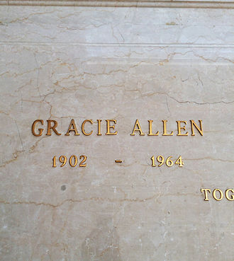 Gracie Allen - Crypt of Gracie Allen, in the Freedom Mausoleum, Forest Lawn Glendale.