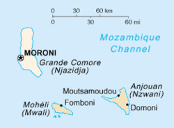 The Comoros islands. Grande Comore is the leftmaist (an lairgest) island.