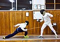 Greek Epee Fencers. Evening training at Athenaikos Fencing Club with fencers from other clubs. Agapitos Papadimitriou (left).jpg