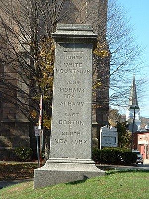 Greenfield, Massachusetts - The road marker in Court Square