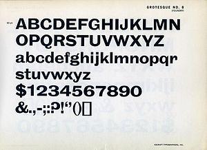Grotesque (Stephenson Blake typefaces) - Grotesque No. 8 on a metal type specimen sheet