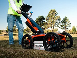 Ground-penetrating radar - Ground penetrating radar in use near Stillwater, Oklahoma, USA in 2010