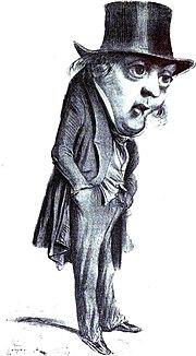 Portrait charge de Gustave Planche par Benjamin.