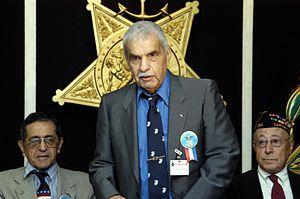 Guy Gabaldon - Guy Gabaldon speaking at Pentagon ceremony honoring Hispanic World War II veterans, September 2004.