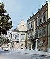 Győr, Bécsi kapu (Köztársaság) tér, a Szabadsajtó utca torkolatánál az Altabak-ház és az Ott-ház. Fortepan 21006.jpg