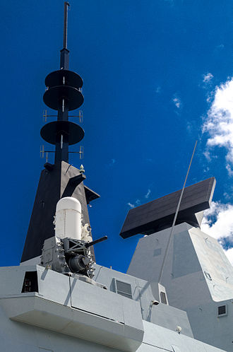 Type 45 destroyer - The S1850M long-range air surveillance radar on HMS Daring. A 20mm Phalanx CIWS gun mount can be seen in the foreground.
