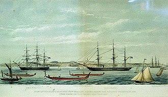 "HMS Miranda (1851) - HMS Fawn (right) and HMS Miranda (left) during the Regatta of January, 1862 (""the race of the Maori war canoes"")"