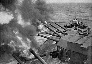 BL 16 inch Mk I naval gun - HMS Rodney firing a salvo, 1936