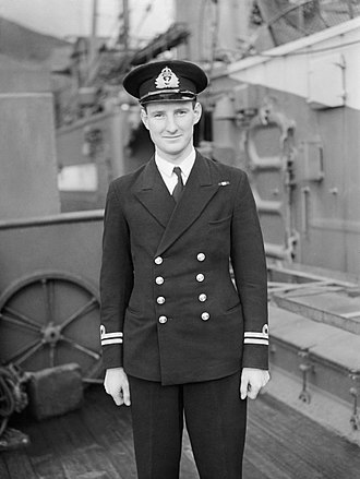 HMS Venturer (P68) - Lt J S Launders DSC RN, on commissioning of Venturer at Holy Loch, 20 August 1943 (IWM A18834)