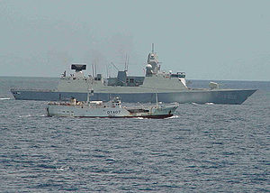 Maritime security operations - The Dutch ship HNLMS ''De Zeven Provinciën'' (F802) responding to the South Korean-flagged fishing vessel Dong Won (628) in the Indian Ocean, April 4, 2006