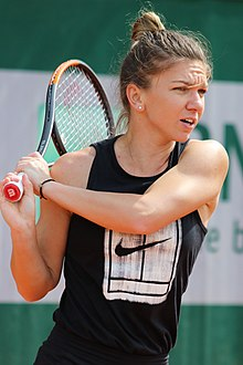 Close-up of Halep hitting a backhand