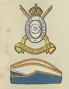 Hampshire Carabiniers badge and service cap.jpg
