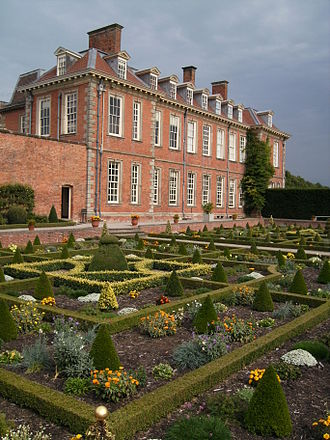 Hanbury Hall - The rear of the hall, viewed across the parterre.