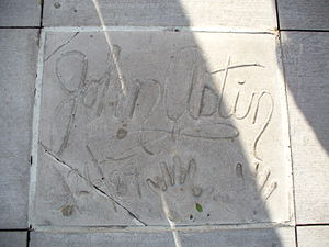 John Astin - The handprints of John Astin in front of Hollywood Hills Amphitheater at Walt Disney World's Disney's Hollywood Studios theme park