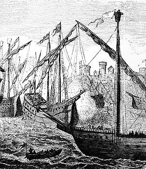 Dano-Hanseatic War (1426–35) - Image: Hanseschiffe vor Kopenhagen 1428 Dänemark