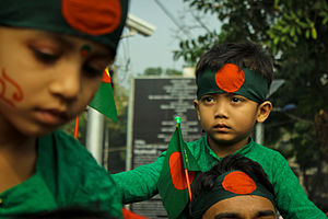 Independence Day (Bangladesh) - Celebration with Bangladeshi Flag.
