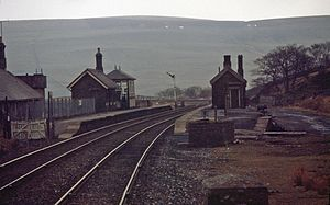Hawes Junction rail crash - Hawes Junction station, looking north. The signal box is on the down (northbound) platform