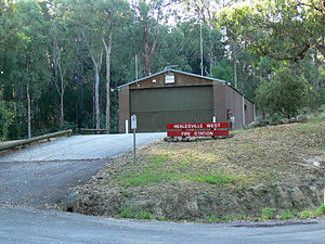 Chum Creek, Victoria - Image: Healesvillewestfires tation