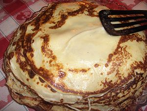 A heap of pancakes in Sweden. My mother cooked...