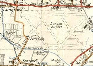 Heathrow (hamlet) - Map of Heathrow and around in 1948