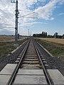 Hegyeshalom–Szombathely-vasút, a 86-os főút közeli átjáróban állva, 2019 Csorna.jpg