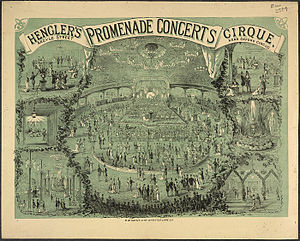 Promenade concert - A c. 1880 poster for promenade concerts at Hengler's Circus, on the site of the present-day London Palladium