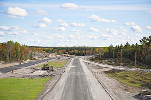 Ontario Highway 400 - Nobel Bypass under construction north of Parry Sound