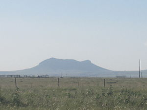Texline, Texas - First view of Rabbit Ear Mountain photographed from North of Clayton New Mexico, Union County