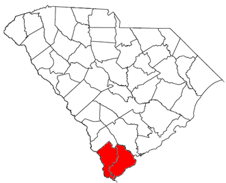Hilton Head Island-Bluffton-Beaufort metropolitan area - Location of the Hilton Head Island-Bluffton-Beaufort Metropolitan Statistical Area in South Carolina