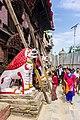 Hindu temple Guardian lion statue of Kumari House at Bhaktapur Durbar square in Kathmandu, Nepal-0363.jpg