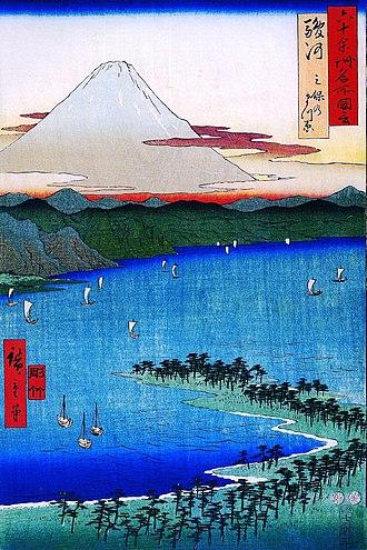 "Suruga Province - Hiroshige ukiyo-e ""Suruga"" in ""The Famous Scenes of the Sixty States"" (六十余州名所図会), depicting the Miho no Matsubara and Mount Fuji"