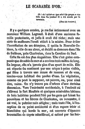 "The Gold-Bug - An 1875 French translation of ""The Gold-Bug"""