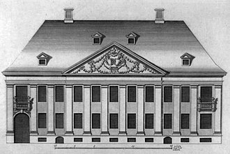 Holstein Mansion - Illustration from Lauritz de Thurah's Hafnia Hodierna showing the Holstein Mansion as it appeared prior to the expansion in 1756.