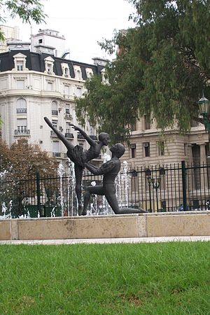 Colon Theater Ballet - The Argentine National Ballet Memorial statue and fountain in Plaza Lavalle, Buenos Aires. It is dedicated to the memory of the Colon Theater Ballet dancers who died in a 1971 plane crash.