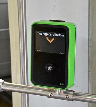 Hop Fastpass - A Hop card reader inside a Portland Streetcar