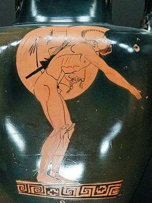 Hoplitodromos - Hoplitodromia, Attic red-figured neck-amphora by the Berlin Painter, c. 480–70 BC, Louvre Museum (CA 214).